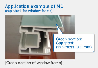 Application example of MC (cap stock for window frame)